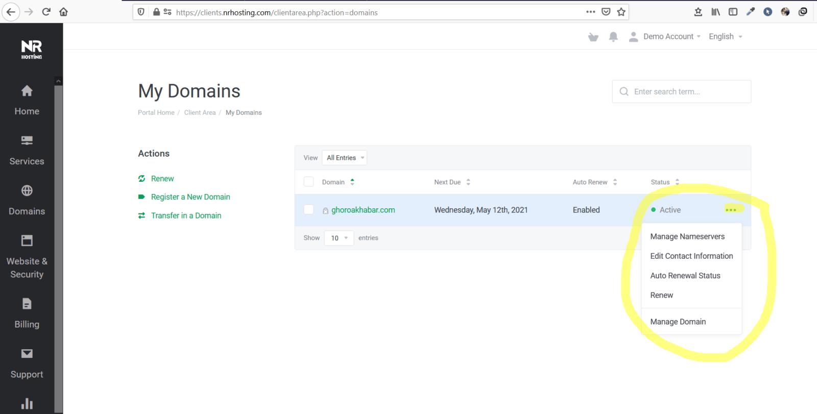 Manage Domain Segment NR Hosting LTD