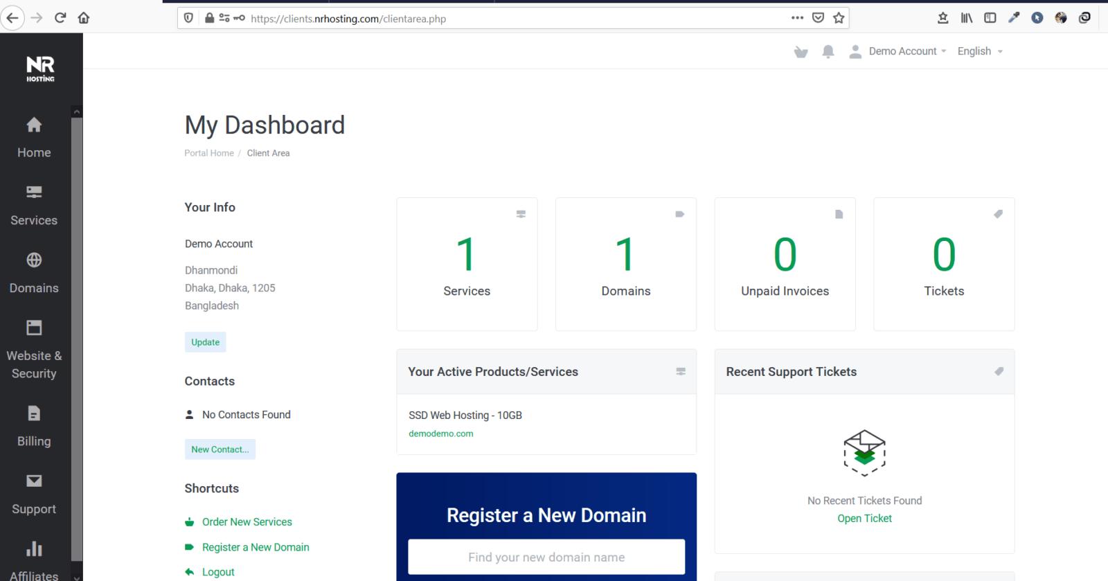 NR Hosting Client Dashboard